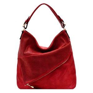 Hobo Bag Red Vegan Leather Asymmetrical Layers